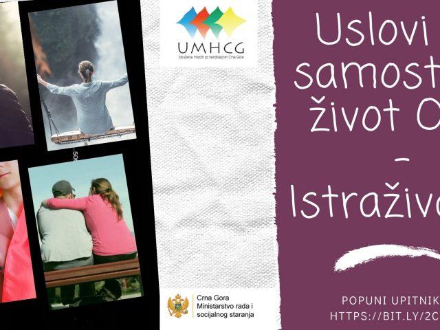 Istraživanje UMHCG: Sistem podrške za život u zajednici OSI neizvjestan, a mogućnosti za samostalan život OSI ograničene