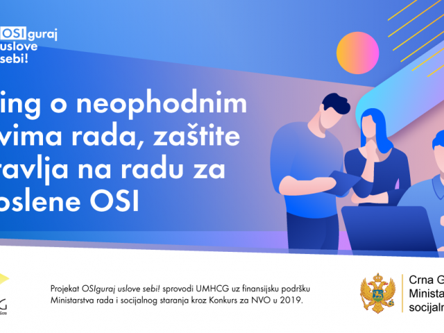 Najava za jednodnevnu edukaciju poslodavaca o neophodnim uslovima rada, zaštite i zdravlja na radu za zaposlene OSI