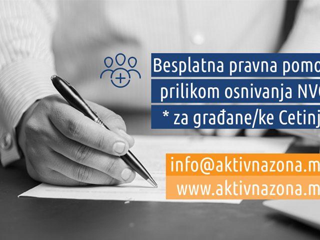 Aktivna zona: Besplatna pravna pomoć za osnivanje NVO na Cetinju