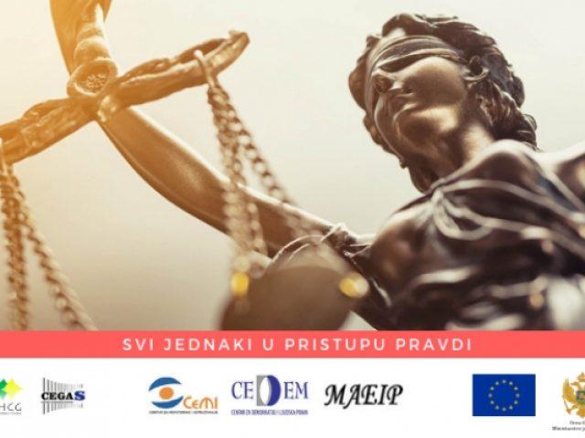Najava: UMHCG i CEGAS započinju realizaciju projekta Svi jednaki u pristupu pravdi (All = in Access 2 Justice)