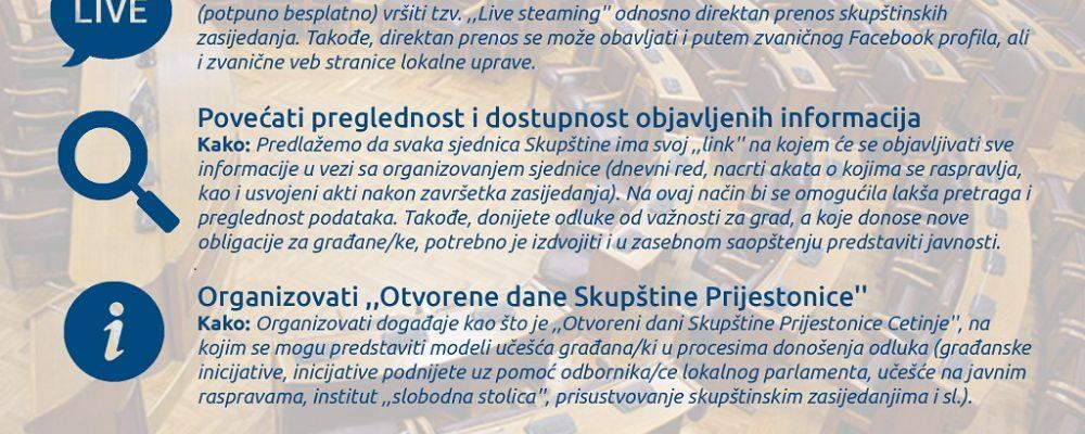 Aktivna zona: Inicijativa za uspostavljanje direktnog prenosa zasijedanja Skupštine Prijestonice Cetinje