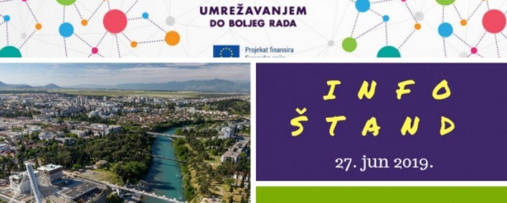 """Najava: UMHCG organizuje šesti info štand u okviru projekta """"Umrežavanjem do boljeg rada"""""""