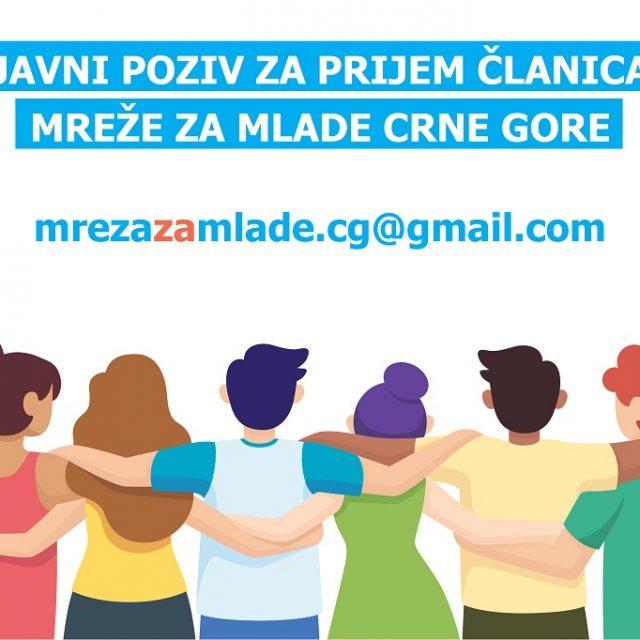 Javni poziv za prijem članica Mreže za mlade Crne Gore
