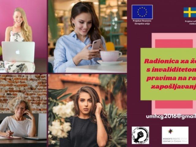 NAJAVA: UMHCG organizuje radionicu za žene s invaliditetom o pravima na rad i zapošljavanje u Pljevljima